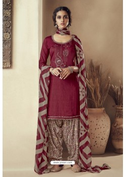 Maroon Pure Zam Cotton Patiala Salwar Suit