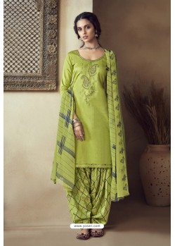 Green Pure Zam Cotton Patiala Salwar Suit