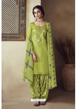 Green Pure Zam Cotton Patiala Salwar Suit