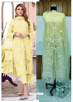 Light Yellow Butterfly Net Latest Party Wear Suit