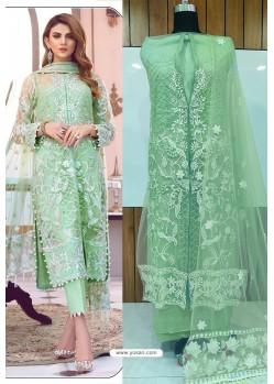 Sea Green Butterfly Net Latest Party Wear Suit