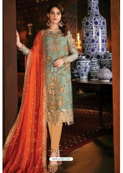 Aqua Mint Latest Heavy Designer Indo Western Suit