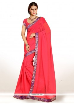 Catchy Lace Work Faux Chiffon Casual Saree