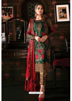 Dark Green Latest Heavy Designer Indo Western Suit
