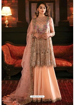 Baby Pink Latest Heavy Designer Indo Western Suit