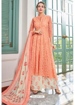 Peach Heavy Muslin Latest Designer Palazzo Suit