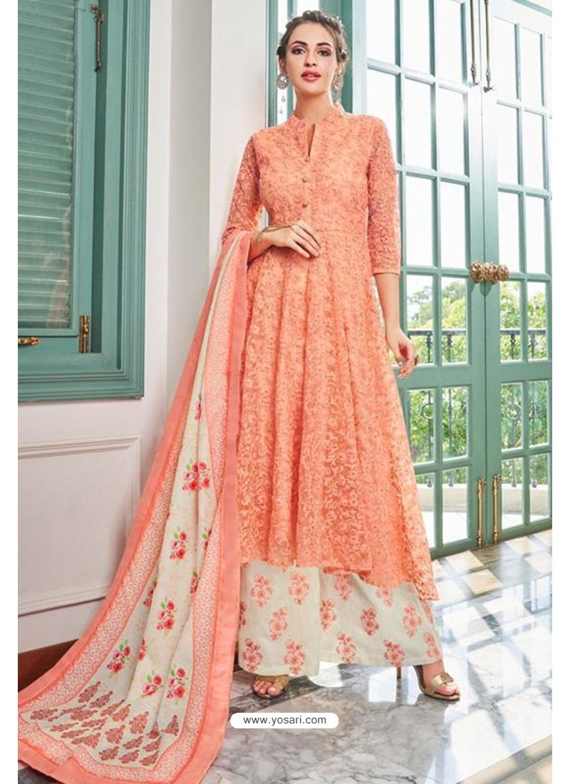 Peach Heavy Muslin Latest Designer Palazzo Suit