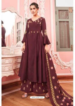 Wine Heavy Muslin Latest Designer Palazzo Suit