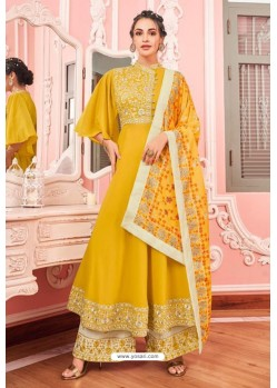 Yellow Heavy Muslin Latest Designer Palazzo Suit