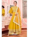 Yellow Heavy Muslin Latest Designer Palazzo Suit