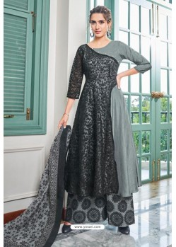 Grey Heavy Muslin Latest Designer Palazzo Suit