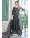 Grey Heavy Muslin Latest Designer Palazzo Suit
