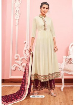 Cream Heavy Muslin Latest Designer Palazzo Suit