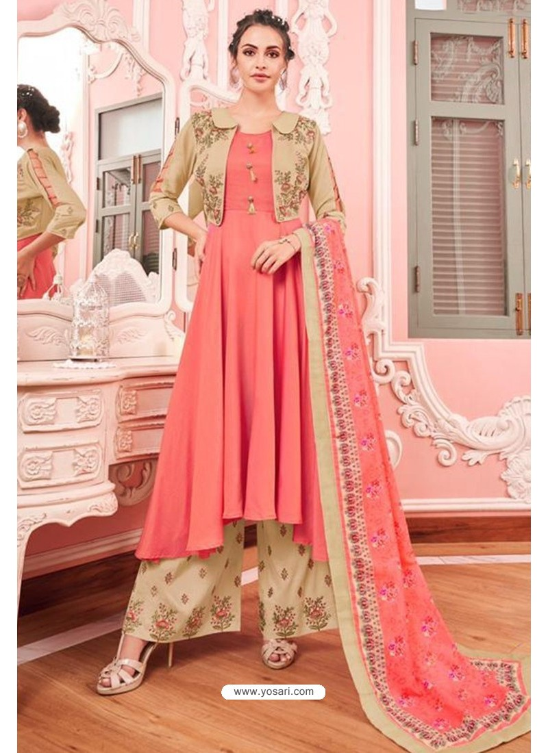 Light Pink And Beige Heavy Muslin Latest Designer Palazzo Suit