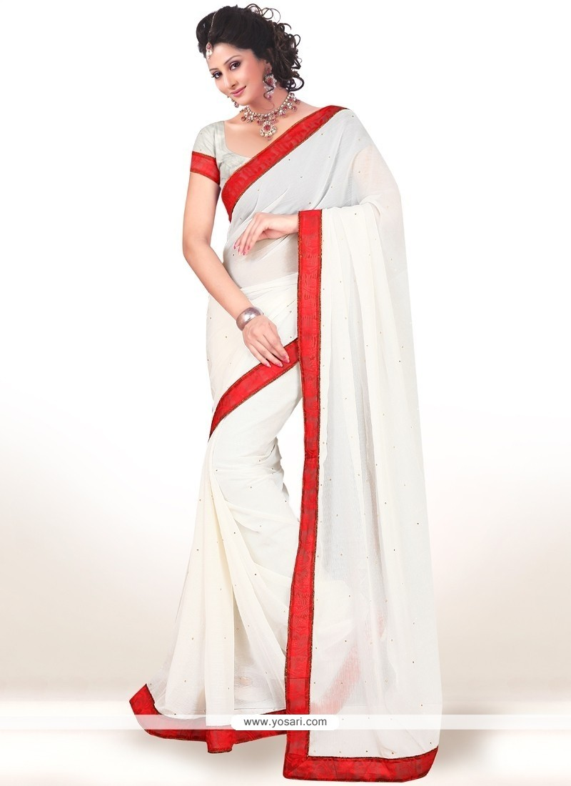 Jazzy White Faux Chiffon Casual Saree