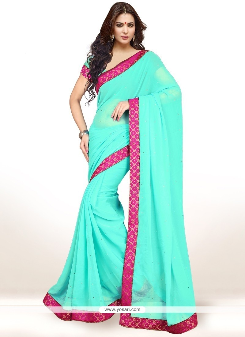 Floral Sea Green Casual Saree