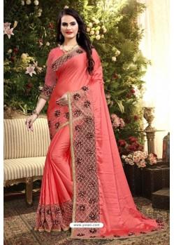Dark Peach Rangoli Silk Embroidered Designer Saree