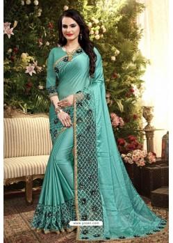 Turquoise Blue Rangoli Silk Embroidered Designer Saree