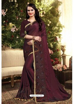 Wine Rangoli Silk Embroidered Designer Saree