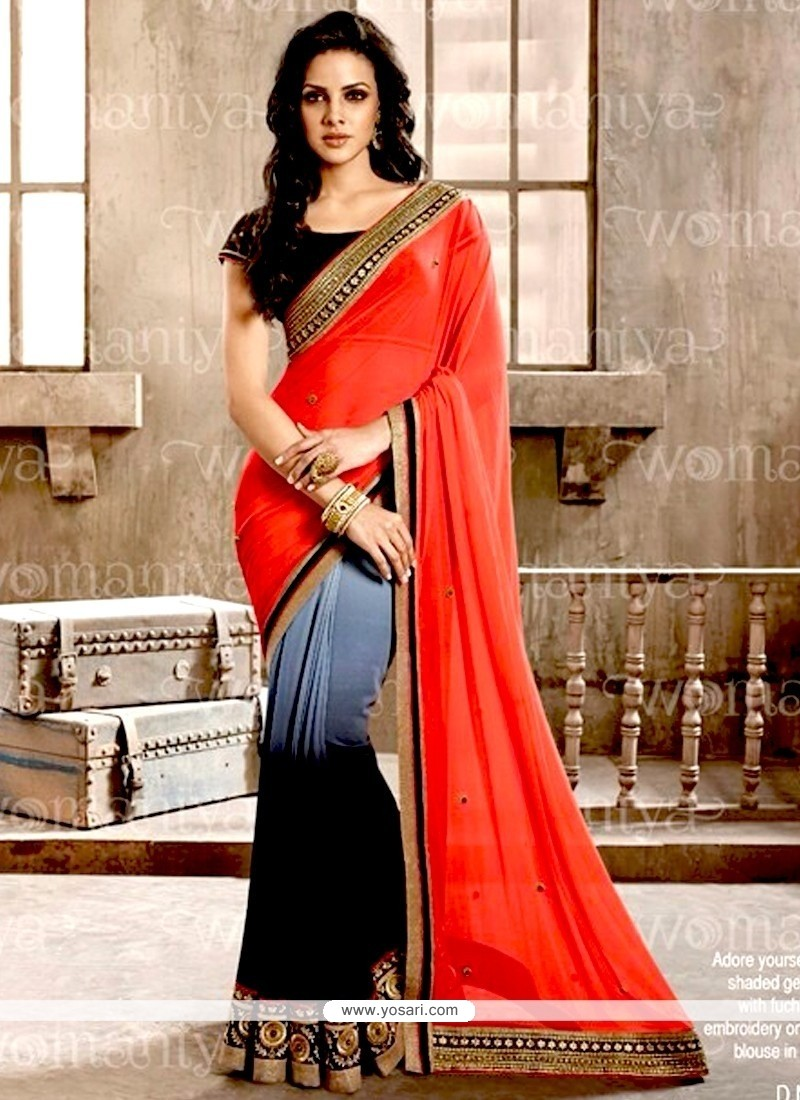 Beckoning Red And Black Contemporary Saree