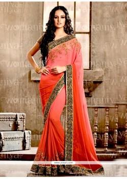 Majestic Embroidered Work Hot Pink Designer Saree