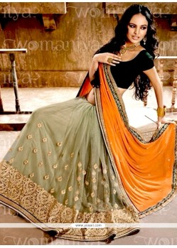 Cherubic Faux Chiffon Orange And Sea Green Half N Half Designer Saree