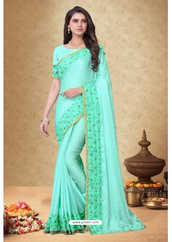 Sea Green Rangoli Silk Georgette Embroidered Designer Saree