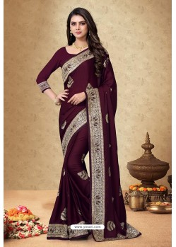 Wine Satin Georgette Embroidered Designer Saree