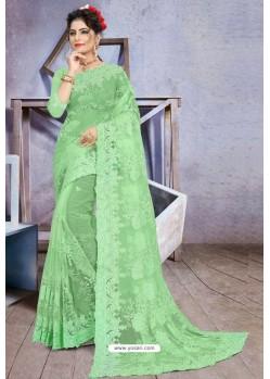 Sea Green Net Heavy Embroidered Designer Saree