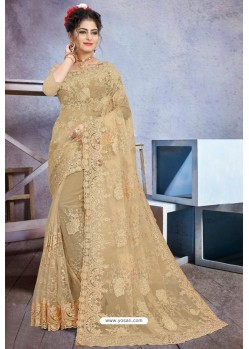 Golden Net Heavy Embroidered Designer Saree