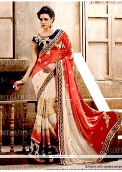 Aristocratic Cream And Red Designer Saree