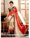 Aristocratic Cream And Red Designer Saree