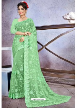 Latest Sea Green Net Heavy Embroidered Designer Saree