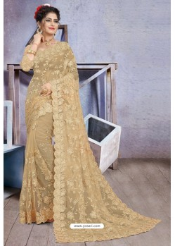 Lovely Golden Net Heavy Embroidered Designer Saree