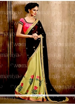 Urbane Georgette Black And Green Embroidered Work Contemporary Style Saree