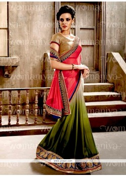 Fine Jacquard Patch Border Work Half N Half Designer Saree