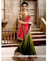 Fine Jacquard Patch Border Work Half N Half Designer Saree