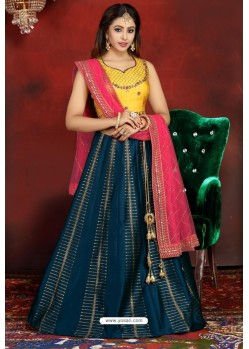 Teal Blue And Yellow Heavy Designer Readymade Lehenga Choli
