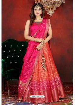 Orange And Rani Heavy Designer Readymade Lehenga Choli