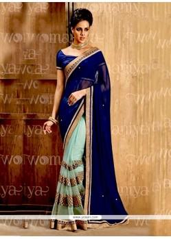 Distinguishable Net Blue Half N Half Saree
