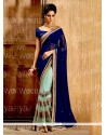 Distinguishable Net Blue Half N Half Saree