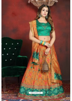 Mustard And Green Heavy Designer Readymade Lehenga Choli
