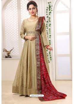 Beige Latest Heavy Designer Party Wear Suit