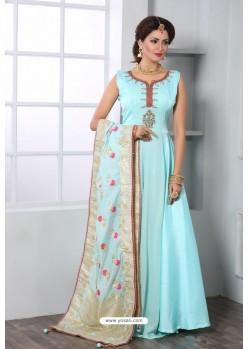 Sky Blue Soft Art Silk Designer Party Wear Suit