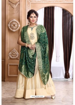 Cream Latest Heavy Designer Party Wear Suit