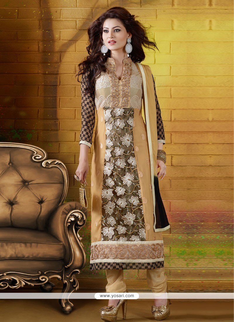 Eyeful Black And Cream Georgette Churidar Salwar Suit