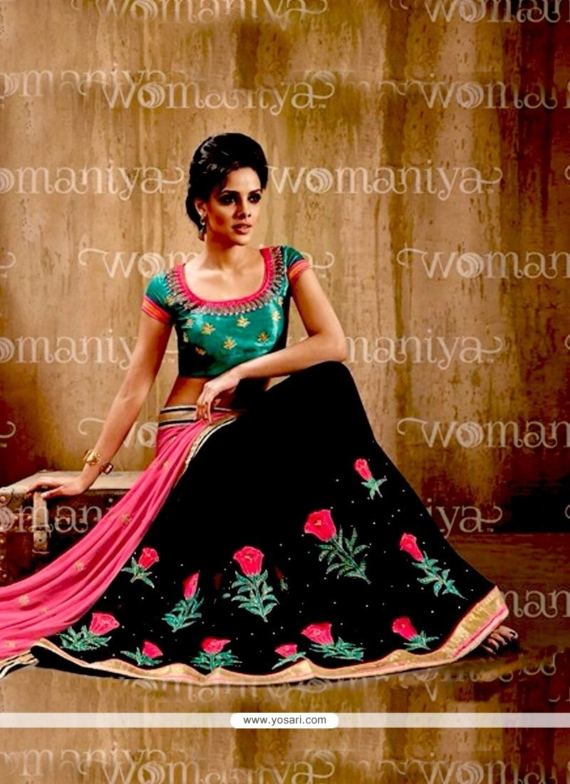 Hot Pink And Black Resham Work Georgette Contemporary Style Saree