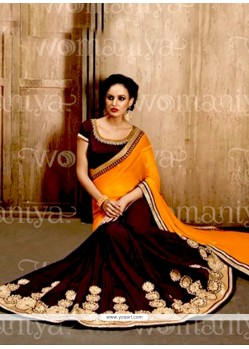 Invigorating Faux Chiffon Mustard And Wine Designer Half N Half Saree
