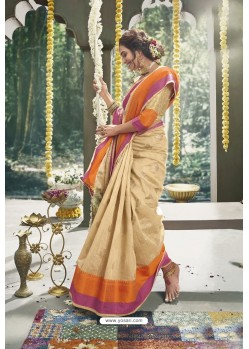 Golden Latest Designer Festive Wear Saree