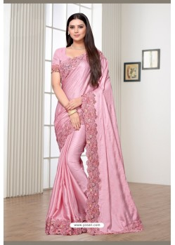 Pink Rangoli Silk Party Wear Designer Saree